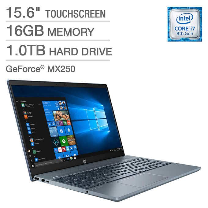 "HP Pavilion Laptop: Intel Core i7-8565U, 15.6"" 1080p IPS Touchscreen, 16GB DDR4, 1TB HDD, MX250, Type-C, Win 10 $749.99 @ Costco"