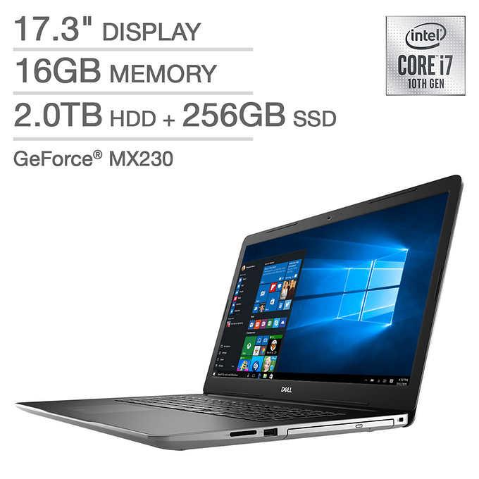 "Dell Inspiron 3793 Laptop: Intel Core i7-1065G7, 17.3"" 1080p, 16GB DDR4, 256GB SSD + 2TB HDD,  MX230 2GB, Win 10 $799.99 + Shipping @ Costco"