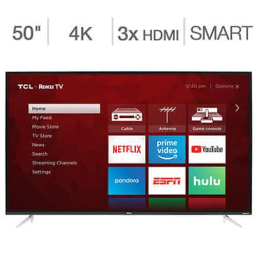 "Costco Members: 50"" TCL 50S423 4-Series 4K UHD HDR Roku Smart LED HDTV $244.99 + Free Shipping"
