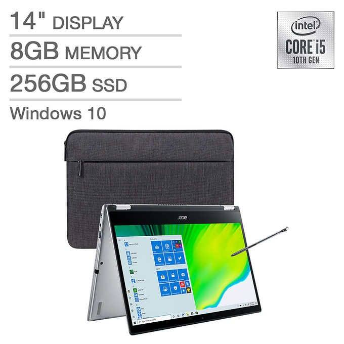 """Acer Spin 3 2-in-1 Laptop: Intel Core i5-1035G1, 14"""" 1080p IPS Touchscreen, 8GB DDR4, 256GB SSD + Stylus & Sleeve $499.99 + S/H @ Costco"""