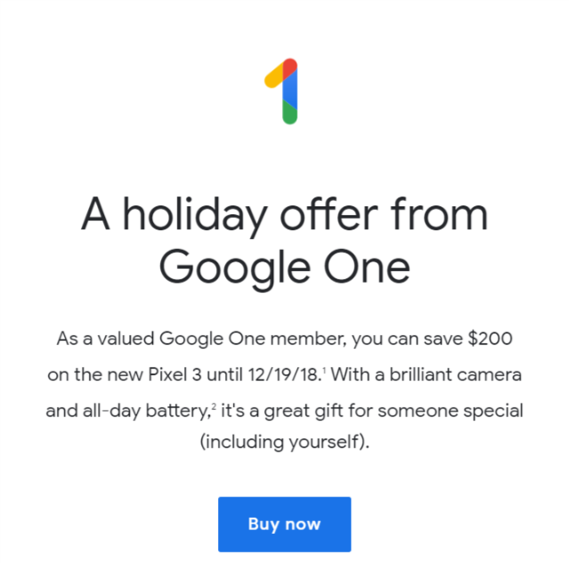 Google One 200 Off Coupon Code For Pixel 3 Or Pixel 3 Xl 200