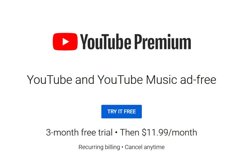 YOU TUBE (NO-AD) PREMIUM and YOU TUBE MUSIC ---3 Month Trial