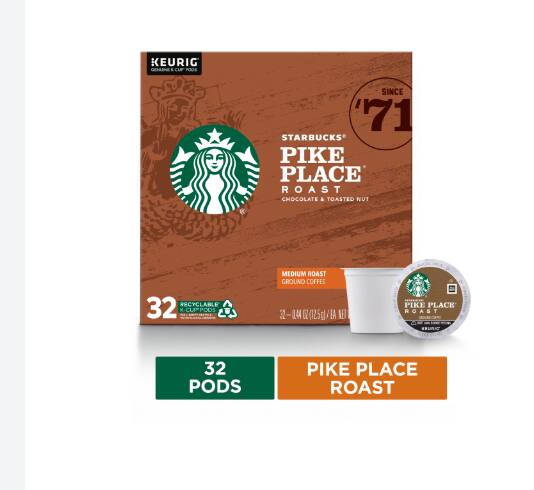 IN-STORE   VERY LIMITED --Starbucks Pike Place Roast Coffee K-Cup Pods (32 Pods) $5