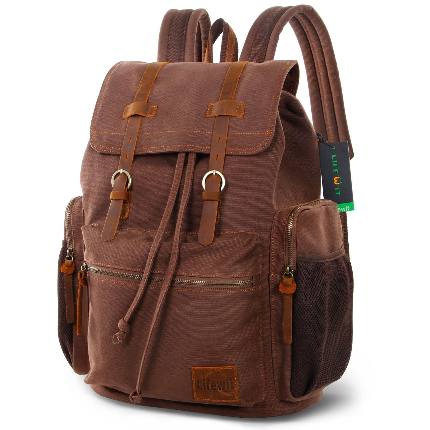 17 Inch Canvas Laptop Backpack Unisex Vintage Leather Casual $23.99