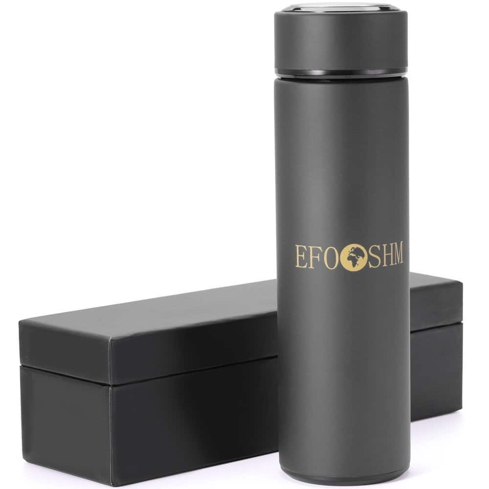 EFOSHM Insulated Stainless Steel Thermos with Removable Tea Strainer, 16 Oz, Black $14.44