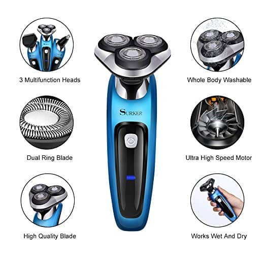 SURKER Electric Shaver Rotary Shaver Wet and Dry 3 in 1 With Nose Trimmer and Sidebums Razor $18.89