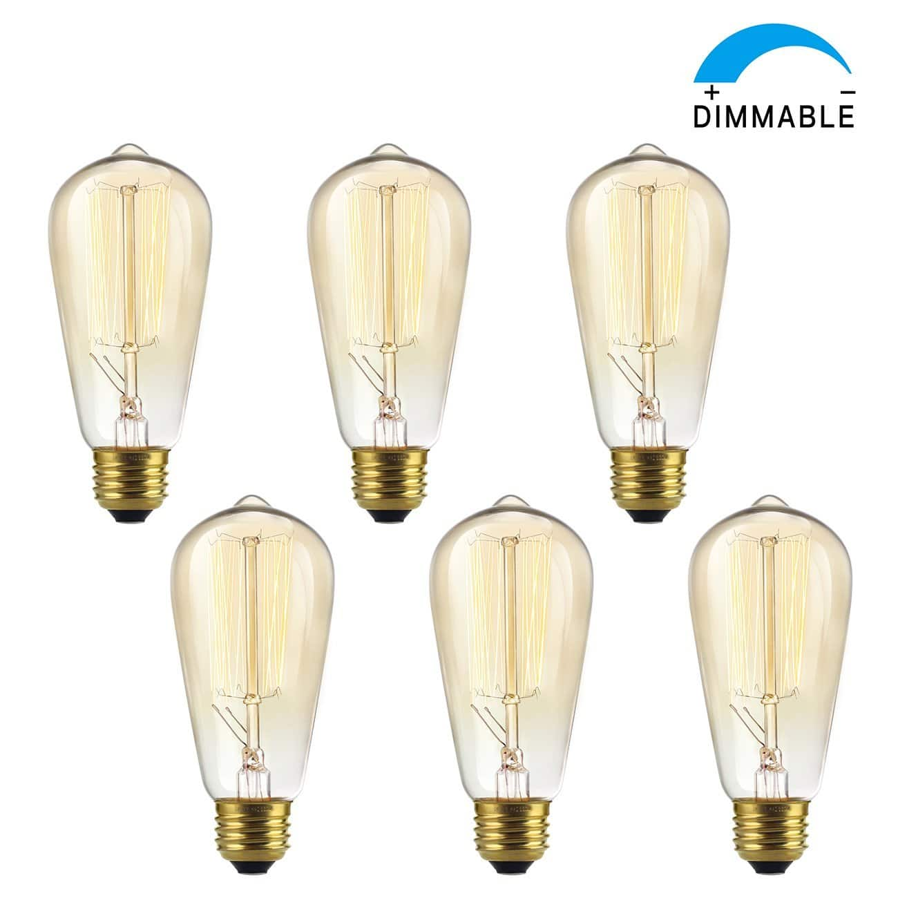 6-Pack SHINE HAI Dimmable ST58 Vintage Edison Bulbs $5.99 @ Amazon