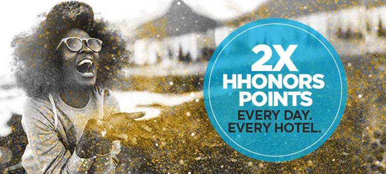Hilton HHonors 2016 Q2 promo. Double Points