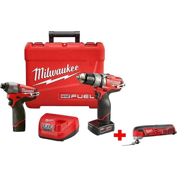 Milwaukee M12 FUEL Cordless Brushless  Hammer Drill/Driver and Impact Combo with Free M12 Multi-Tool $199
