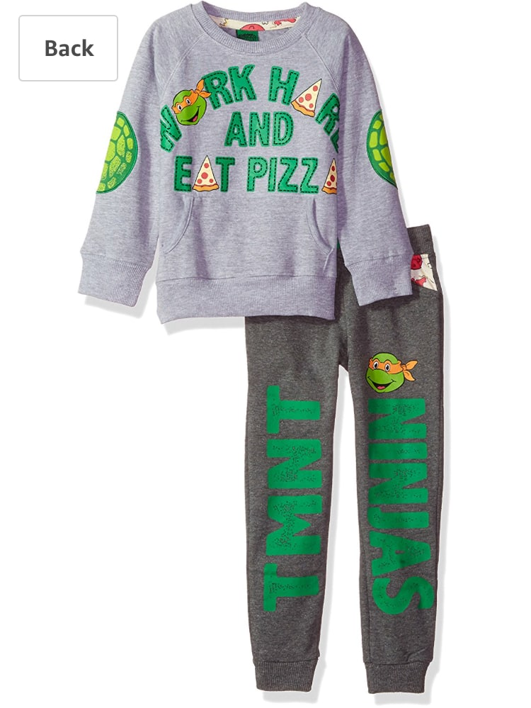 Nickelodeon Toddler Boys TMNT Work Hard and Eat Pizza Jogger Set, Grey, 2T - $3.88 (add-on item) Free Shipping with Alexa ( Reg. $22.00)