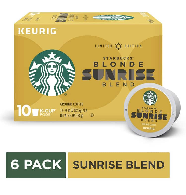 Starbucks Blonde Sunrise Light Roast Coffee for Keurig, 6 Boxes of 10 (60 total K-Cup pods)- $26.98 Amazon