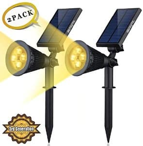 Solar LED Lights- (2 Pack) [3rd Ge] Siensync 2-in-1 Solar Powered Outdoor Spotlight $24.99 AC at Amazon