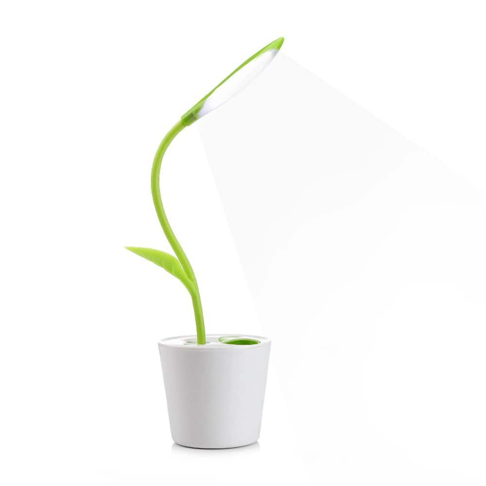 iEGROW flexible USB Touch LED Desk Lamp with 3-Level Dimmer and Decore Plant Pencil Holder $6.99