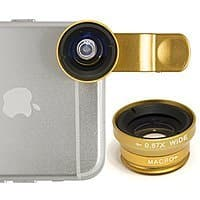 Amazon Deal: Bastex - 180° Fish Eye Lens + Wide Angle Lens + Macro Angle Gold Camera Lens Kit with Clip-On  for Iphone/Samsung phone,$4.99,FS