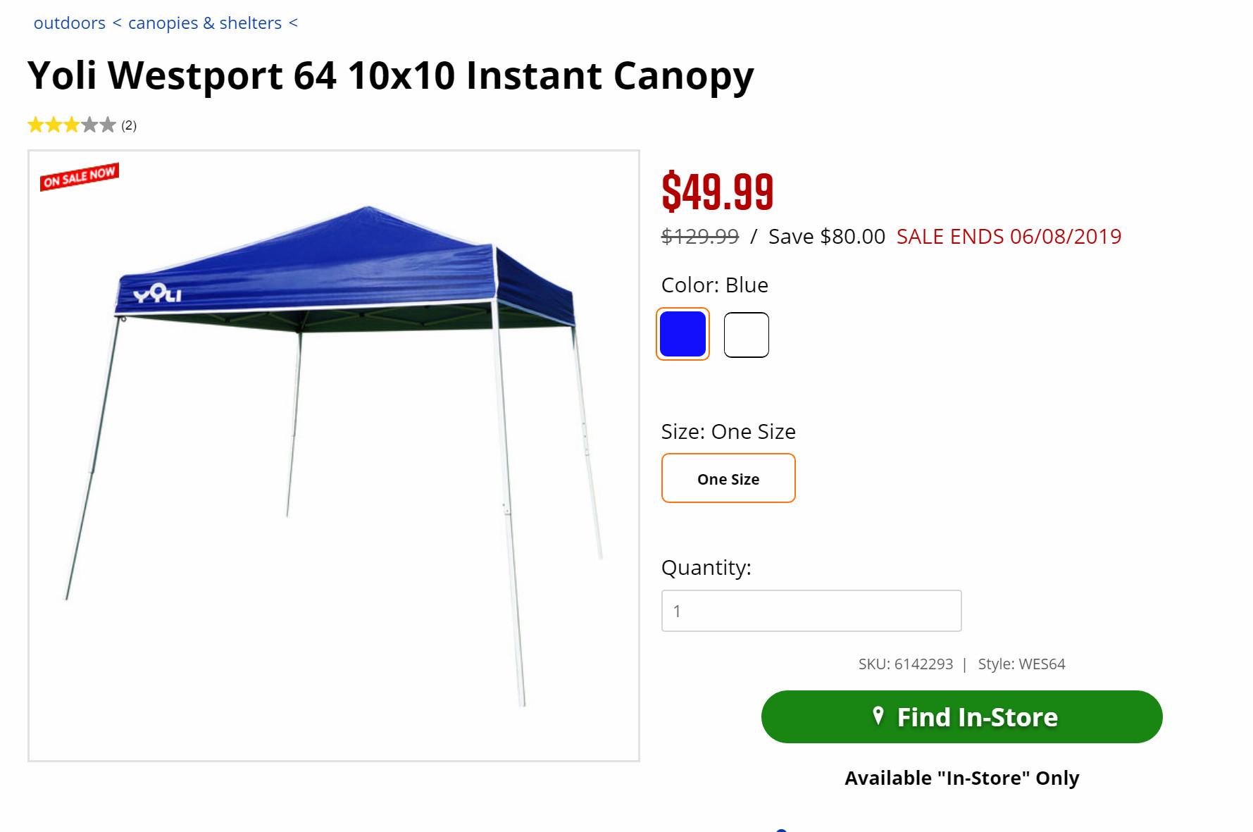 Yoli Westport 64 10x10 Instant Canopy $49 95 - Slickdeals net