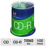 Color Research 100-Pack Spindle of 52X 700 MB CD-R Blank Media, Color Research 100-Pack Spindle of 16X 4.7GB DVD-R Blank Media & More for Free After Rebate + S&H @ TigerDirect.com