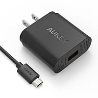 Amazon Deal: Aukey Quick Charge 2.0: 18W USB Wall Charger + 3.3 Ft. MicroUSB Cable for $8.99 AC or 30W 2-Port USB Car Charger + 3.3 Ft. Micro USB Cable for $9.49 AC + FSSS @ Amazon.com