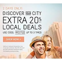 Groupon Deal: Extra 20% off Local Deals (up to 3 uses) @ Groupon.com - Valid thru 08/06/15 (Max Discount: $50.00)