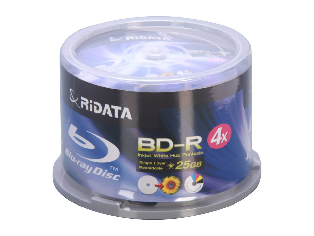 Optical Media: 50-Pack RiDATA 25 GB 4X Inkjet Printable BD-R Media Spindle (BDR-254-RDIWN-CB50) for $14.99 AC & More + Free Shipping@ Newegg.com