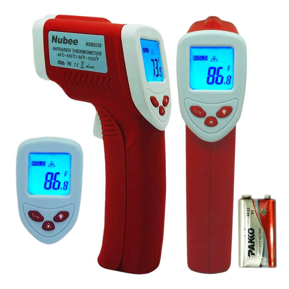 Nubee Non-Contact Infrared Thermometer Digital Temperature Gun w/ Laser Sight (NUB-8550) for $10.45 + FSSS or FS w/ Prime @ Amazon.com