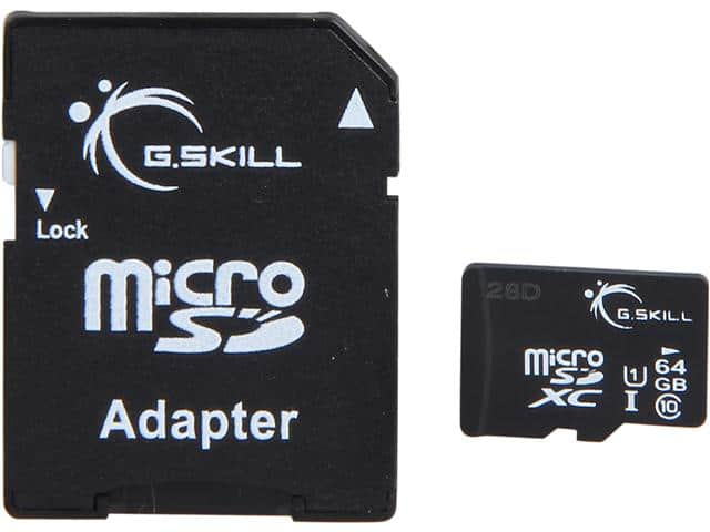 64 GB G.SKILL Class 10 UHS-1 microSDXC Flash Card w/ Adapter for $13.99 AC, 128 GB Corsair Flash Voyager Slider USB 3.0 Flash Drive for $25.99 AC + S&H & More @ Newegg.com