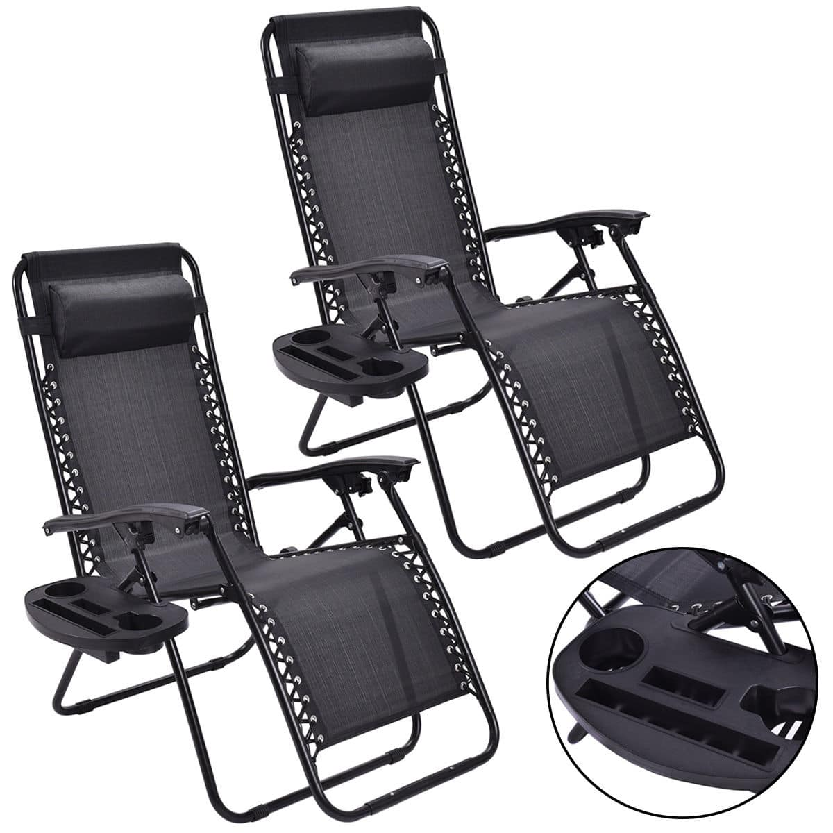 2-Pack of Zero Gravity Black Lounge Patio Chairs with Cupholder for $49.99 (or less) + Free Shipping @ eBay.com