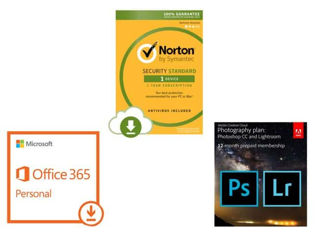 Adobe CC Photo Plan (Photoshop CC + Lightroom) 12-Month Membership + Microsoft Office 365 Personal (1 PC & 1 Tablet - 1 Yr) + Norton Security St (1 Device) for $149.95 @ Newegg.com