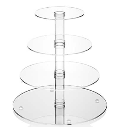 Utenlid 4-Tier Stacked Party Cupcake and Dessert Tower - Clear Acrylic Cake Stand $11.99+FS@Amazon.