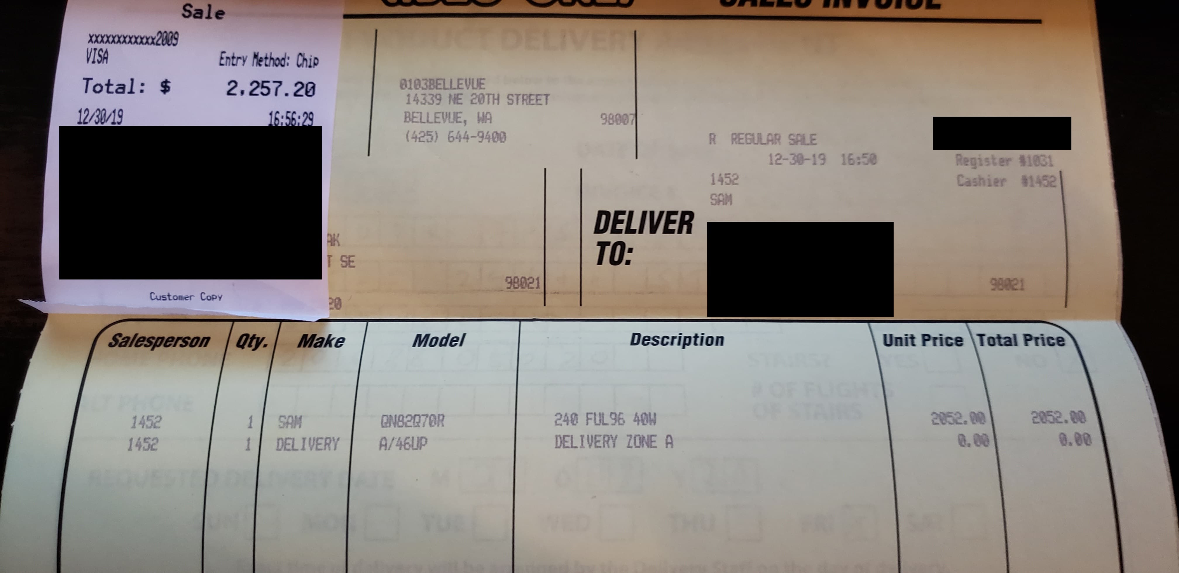 "Samsung QN82Q70RAF 82"" Class Smart QLED 4K UHD TV $2052"