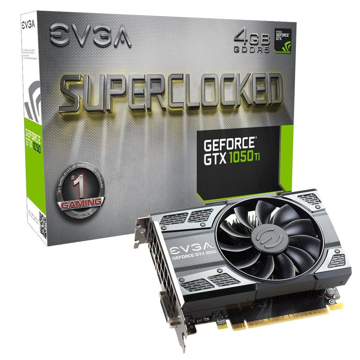 EVGA GeForce GTX 1050 Ti SC SuperClocked Graphics Card, 4GB GDDR5 $129 woot.com