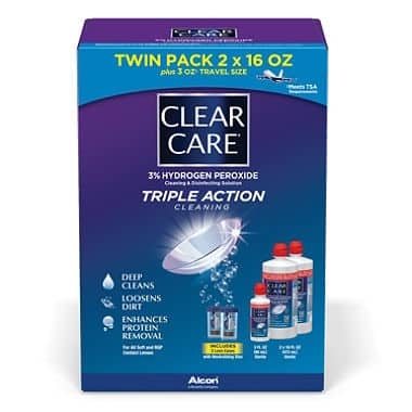 Clear Care Contact Lens Solution - 35 oz (2x 16oz + 3oz travel size) - $14.99 + Free Shipping