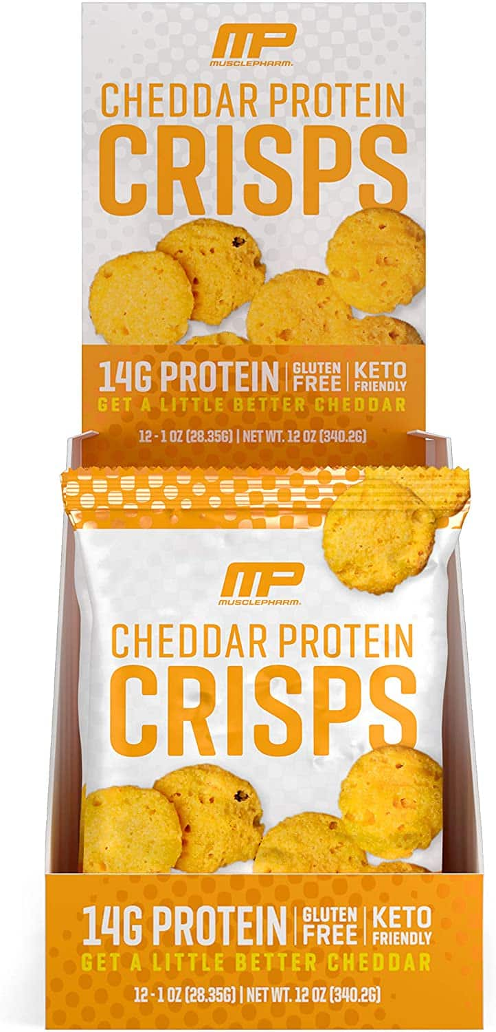 (12-Pack) MusclePharm Protein Cheese Crisps, 14g Protein, Cheddar, 1 Ounce - $5.65 + FS w/ Prime
