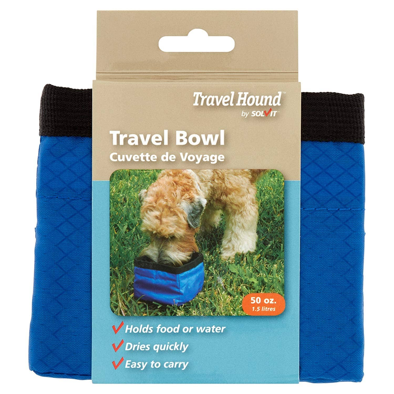 Solvit Collapsible Travel Bowl for Pets, 50 oz, Blue/Red $1.67 FS w/ Prime