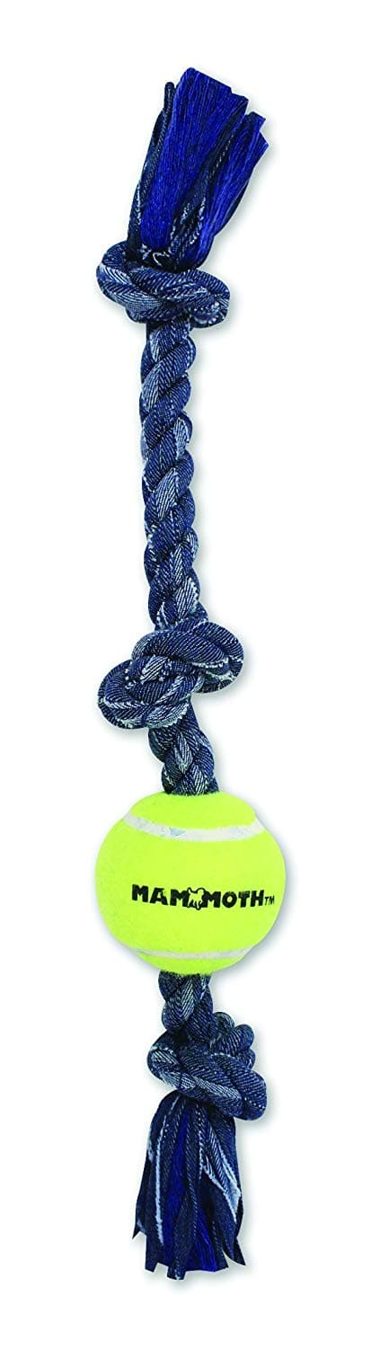Knotted Rope Tug Bone Dog Toys: Mammoth 20-Inch 3-Knot 3-Ball Denim Med $3.39, DeniZanies Cotton or Dogit Hagen Small $1.99, Petmate XS $1.49 FS w/ Prime
