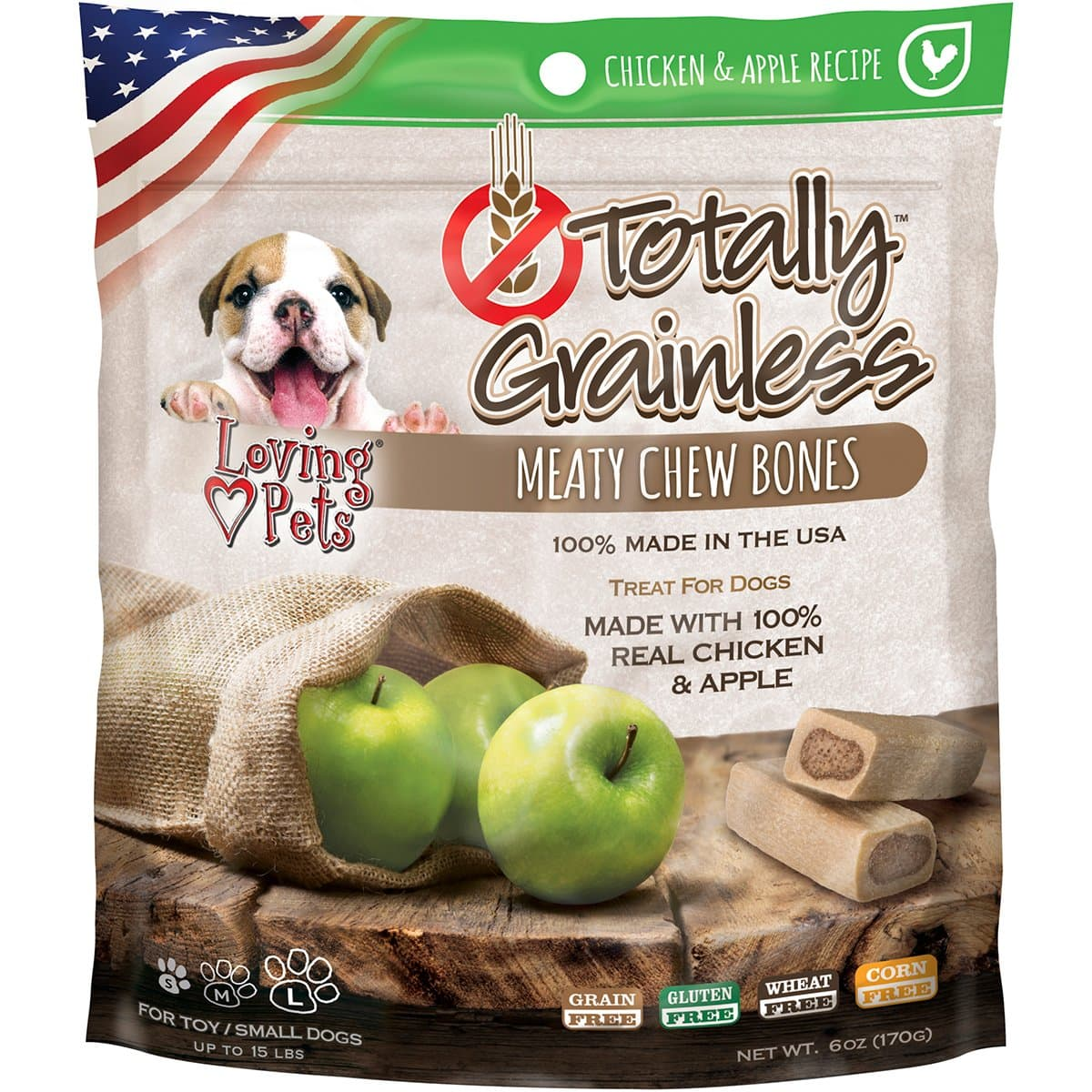 Loving Pets Totally Grainless for Dogs, Meaty Chew Bones 6 oz (Made in USA) Chicken and Apple $1.85 FS w/ Prime