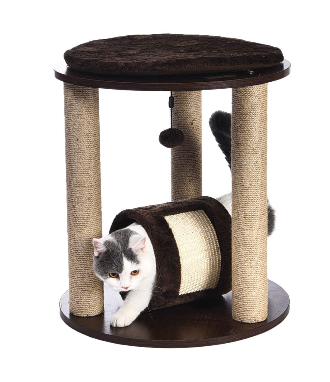 AmazonBasics Wooden Cat Furniture Triple Post Scratcher w/ Sleeping Platform $22.89 FS w/ Prime