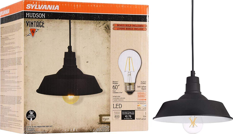 Sylvania Hudson Factory Pendant Light Vintage Fixture, LED, Dimmable Bulb Included, Antique Black $9.94 FS w/ Prime