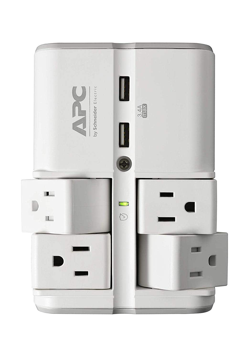 APC Wall Pivot-Plug Surge Protector, 4 Rotating Outlets, 1080 Joule Surge Protector with Two USB Charging Ports, SurgeArrest Essential (PE4WRU3) $17