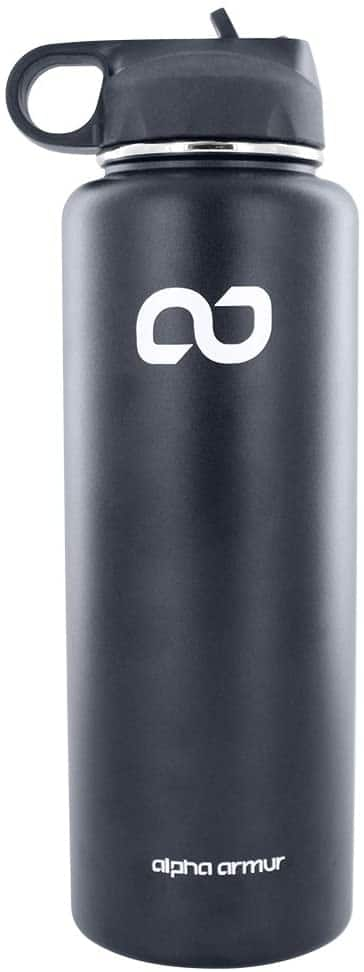 Alpha Armur 40oz Stainless Steel Vacuum Double Wall Insulated Stainless Steel Sports Water Bottle - Black - $8.20 FS w/ Prime