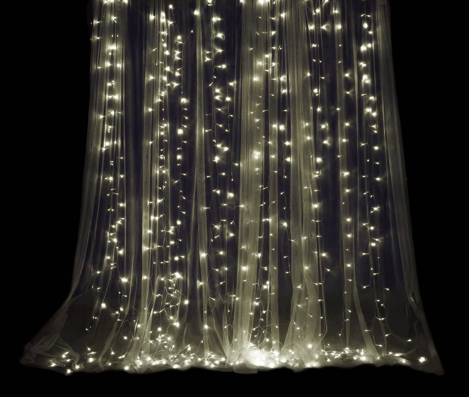 ProductWorks Indoor/Outdoor Curtain Bright White Micro LED Bulb Translucent 300 Count String Lights , 9.8' x 10' $10.29 FS w/ Prime