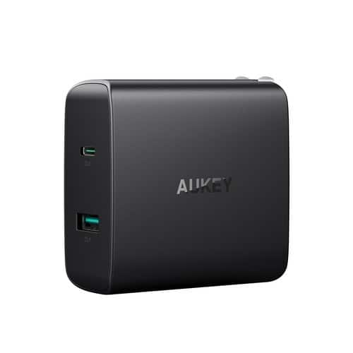 AUKEY USB-C Charger with 56.5W 2-Port Fast Wall Charger, 46W USB-C Power Delivery + USB-A $17.50 FS w/ Prime