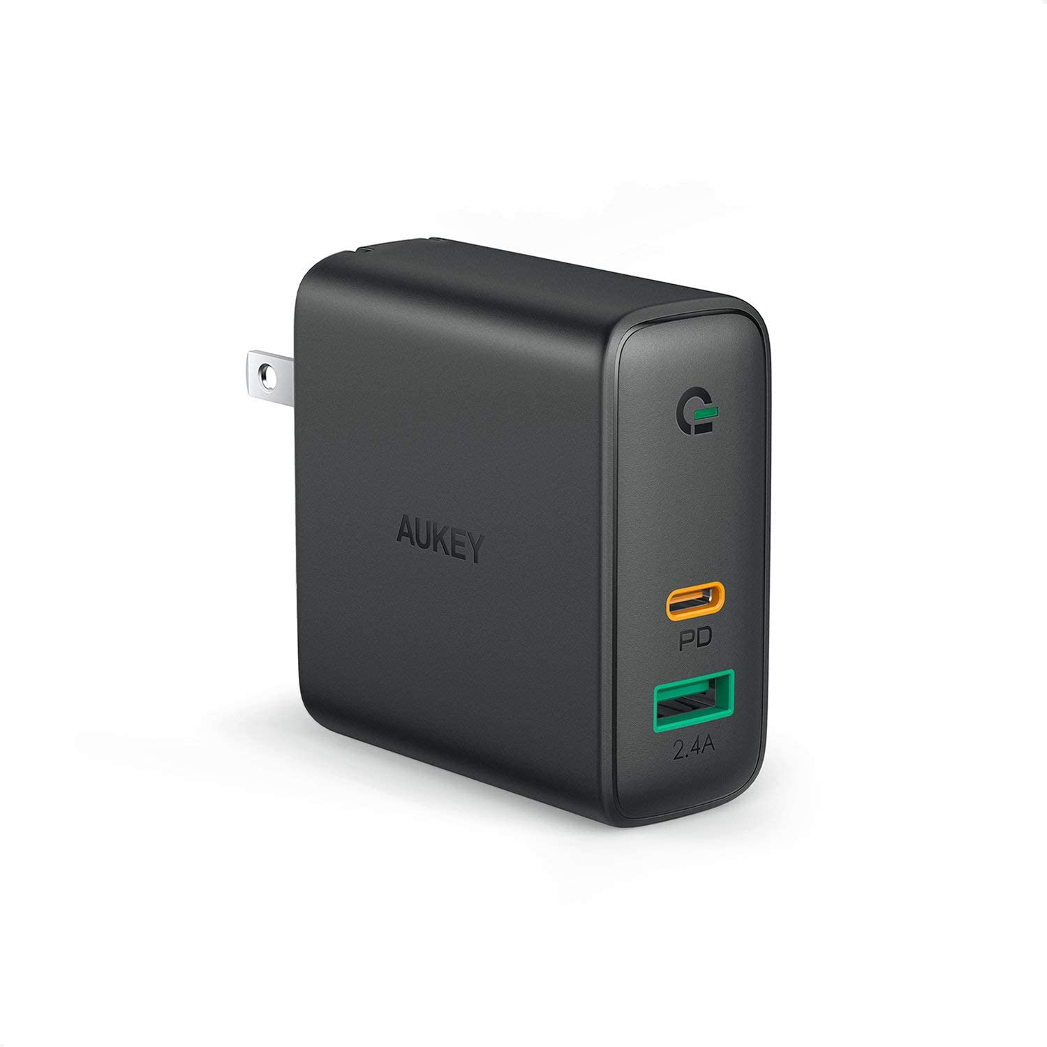 AUKEY 60W PD Charger, USB-C 2-Port Wall Charger with Dynamic Detect & USB-C 60W Power Delivery 3.0 + USB-A Charger $25.50 FS w/ Prime