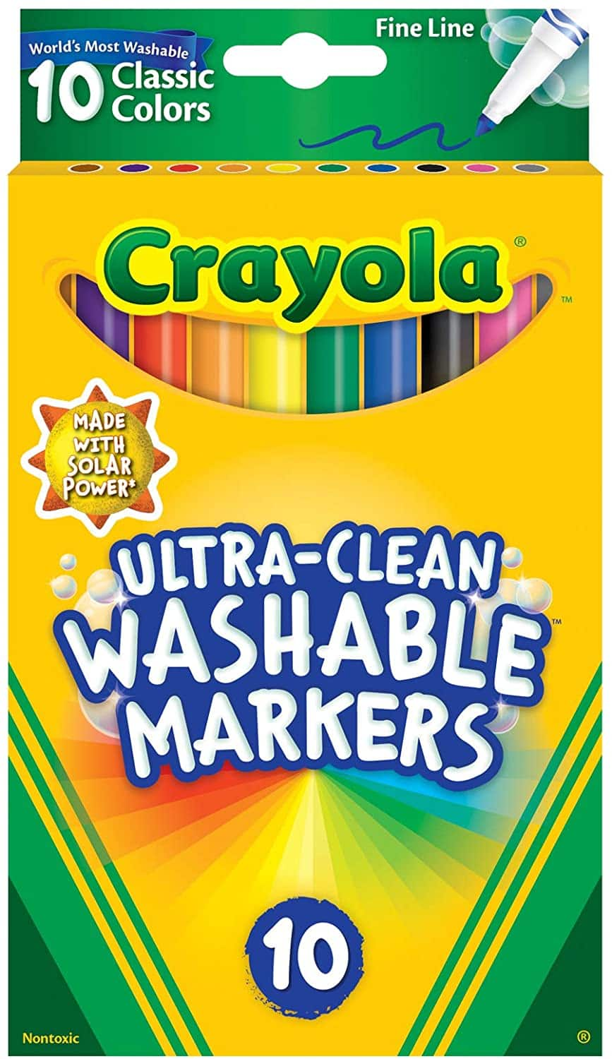 Crayola Ultra Clean Washable Markers, Fine Line, Classic Colors, 10 Count $2.47 FS w/ Prime