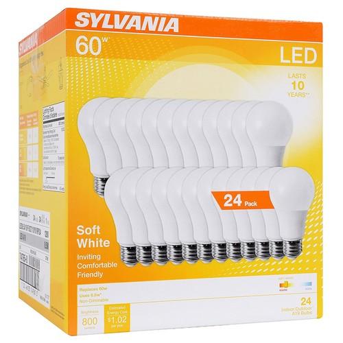 SYLVANIA General Lighting A19 Efficient 8.5W Soft White 2700K 60W Equiv. A29 LED Light Bulb (24 Pack) - $19.82 FS w/ Prime
