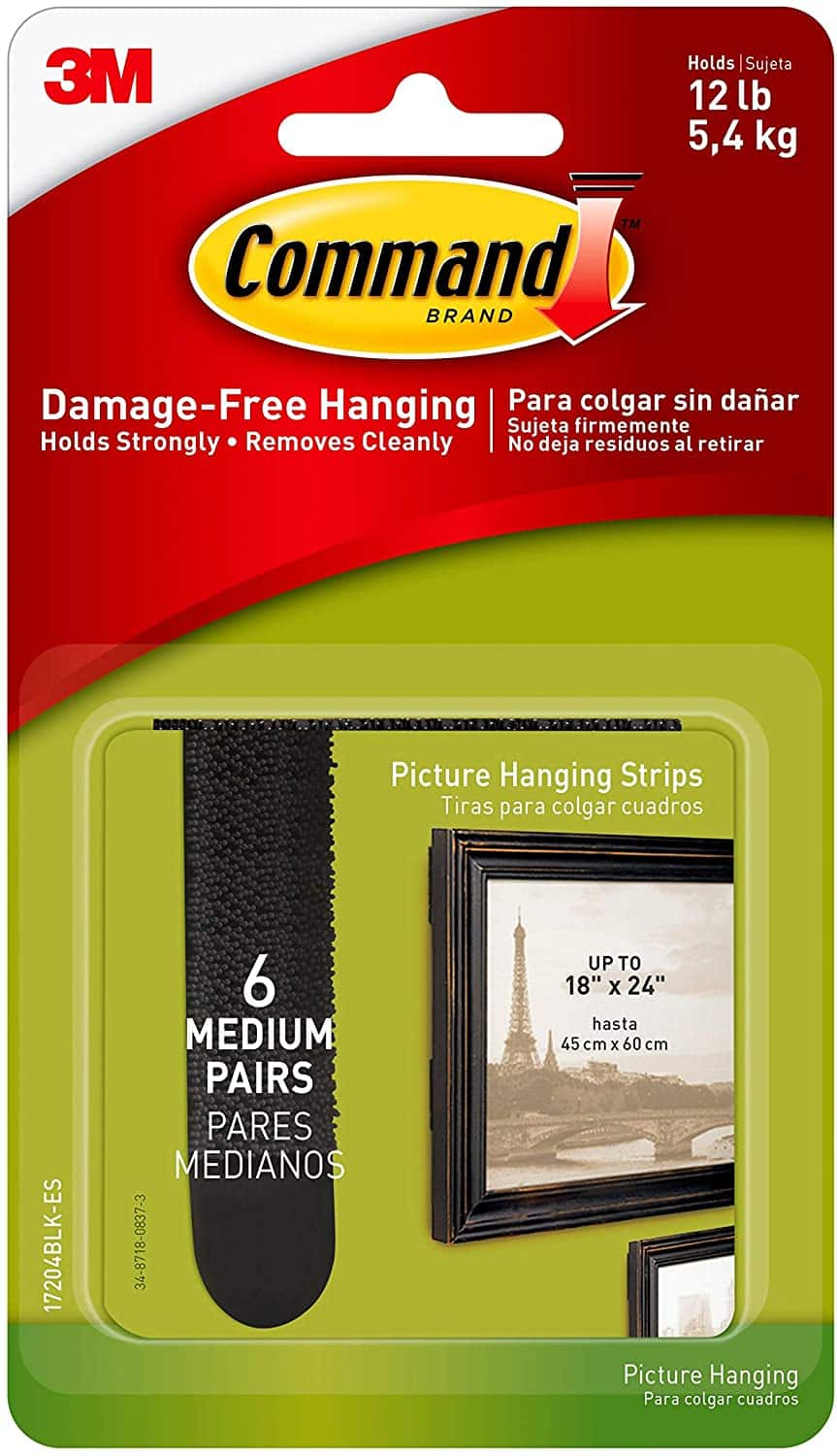 Command Picture Hanging Strips, Black, 6 pairs (12 strips) $3 FS w/ Prime