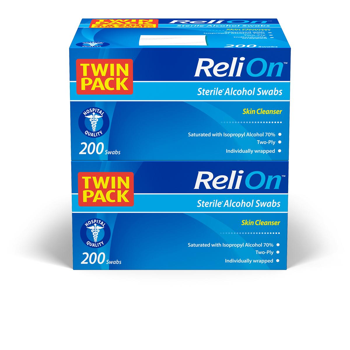 ReliOn Medium Isopropyl 70% Alcohol Prep Pads, 2-Ply, 200 Swabs Per Box (400 Total Count) $3.74 Free Pickup (Walmart)