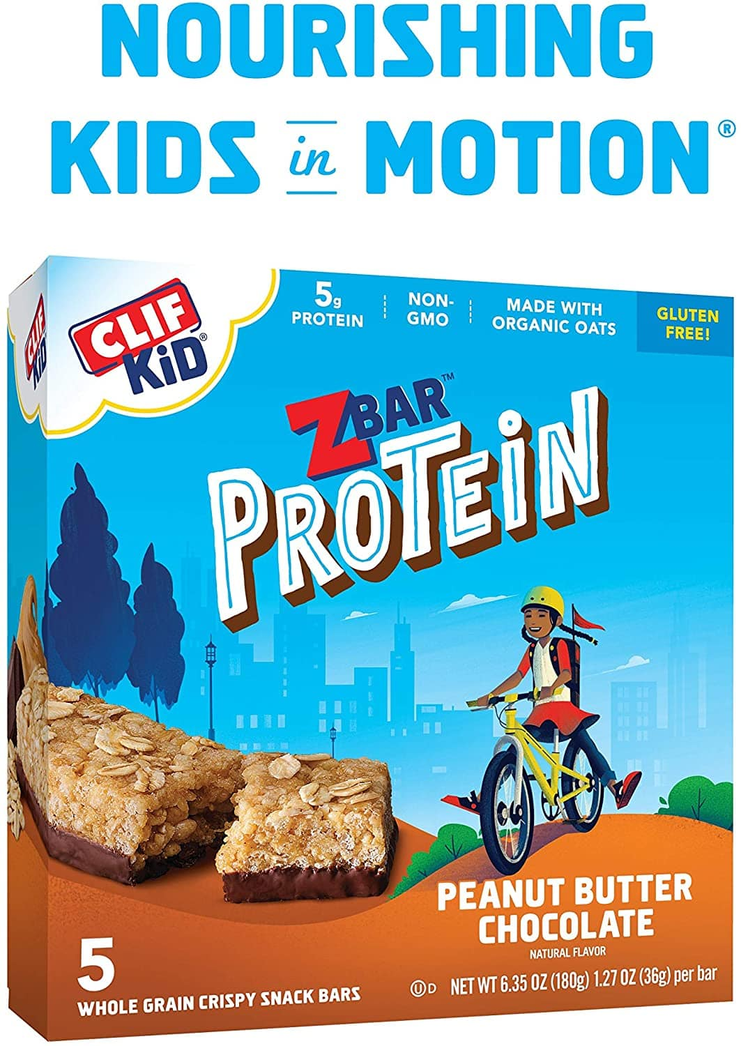 CLIF KID ZBAR - Protein Granola Bars - Peanut Butter Chocolate Flavor (1.27 Ounce Gluten Free Bars, 5 count) $2.32 or less  - FS w/ Prime