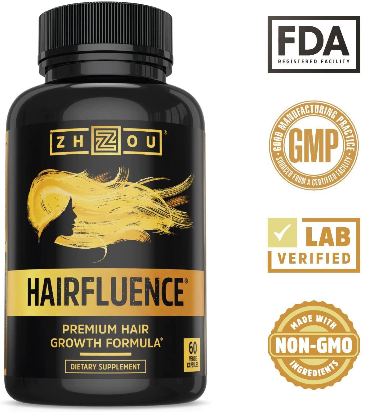Zhou HAIRFLUENCE - Hair Growth Formula For Longer, Stronger, Healthier Hair (60 Veggie Capsules) $12.04 FS w/ S&S