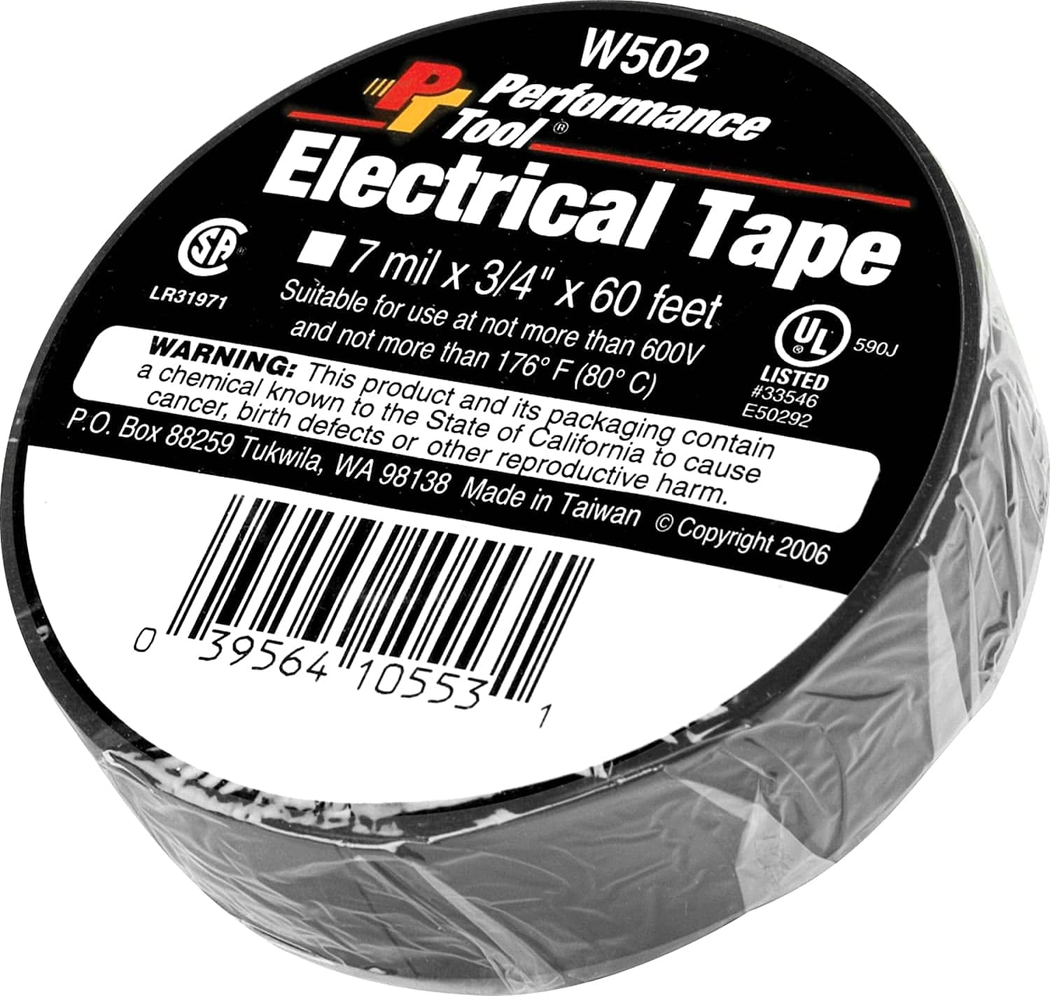 Performance Tool W502 Electrical Tape, 3/4in x 60ft  - $1.44 FS w/ Prime