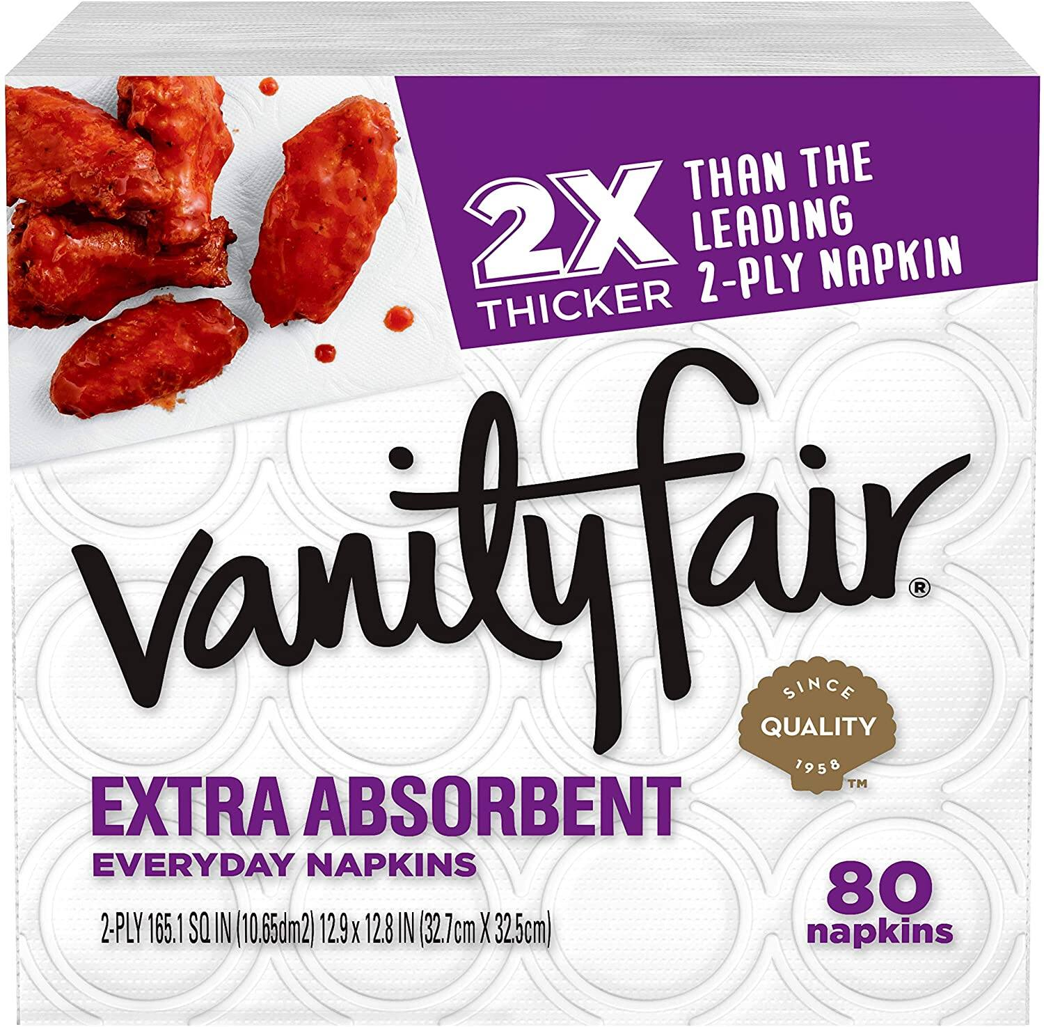 Vanity Fair Everyday Extra Absorbent Premium Paper Napkin, 80 Count $1.98 FS w/ Prime